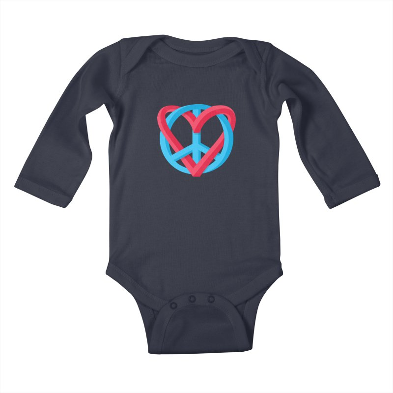 Peace + Love Kids Baby Longsleeve Bodysuit by Corsac's Artist Shop