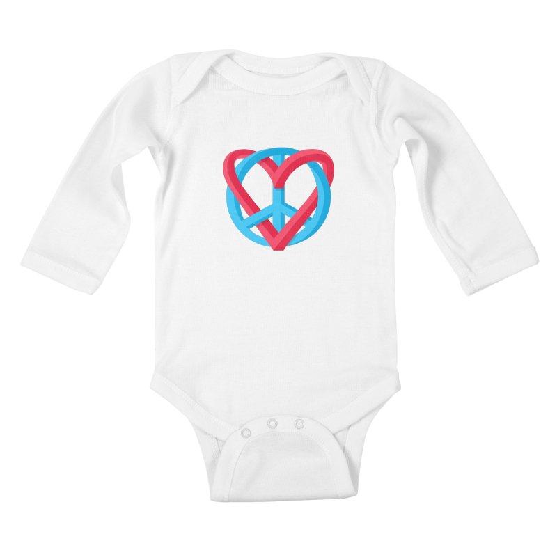 Peace + Love Kids Baby Longsleeve Bodysuit by Corsac's Artist Shop
