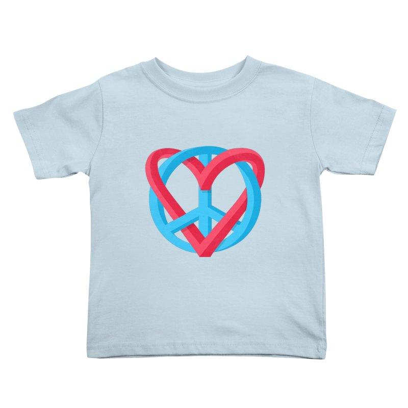Peace + Love Kids Toddler T-Shirt by Corsac's Artist Shop
