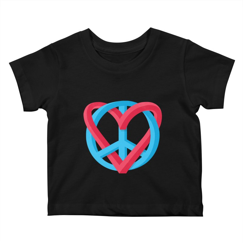 Peace + Love Kids Baby T-Shirt by Corsac's Artist Shop