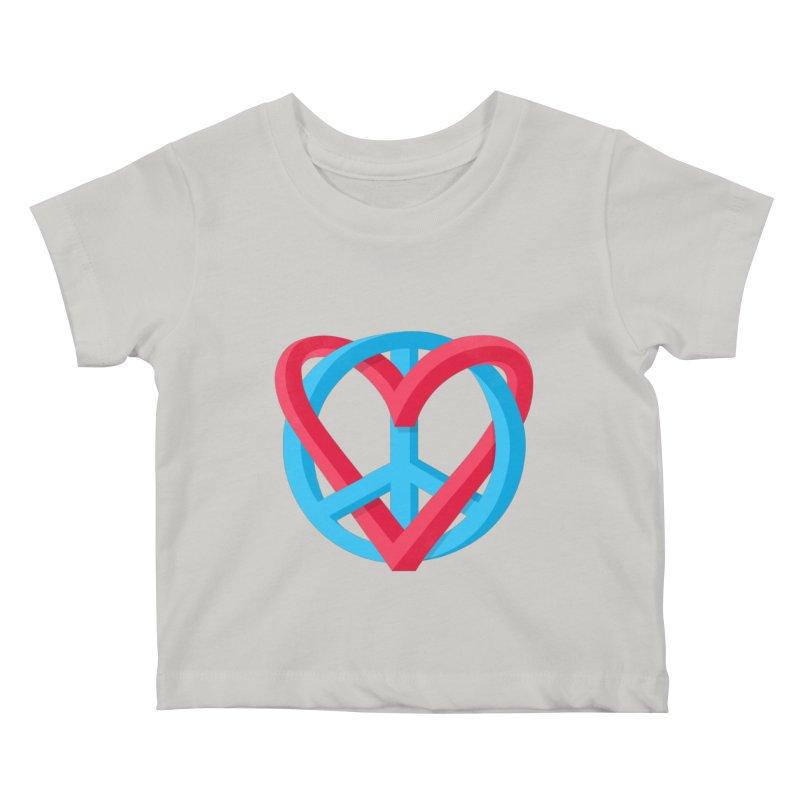 Peace + Love Kids Baby T-Shirt by Corsac's Artist Shop
