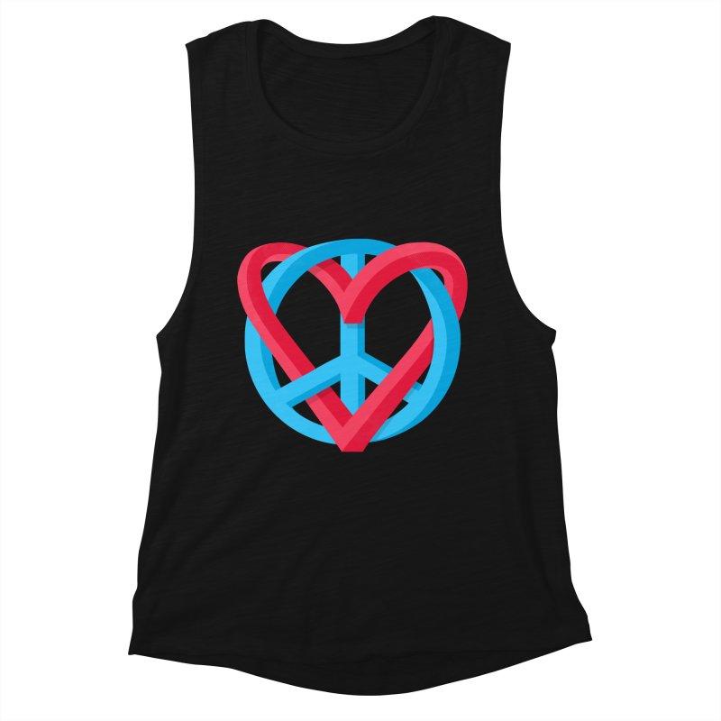 Peace + Love Women's Tank by Corsac's Artist Shop