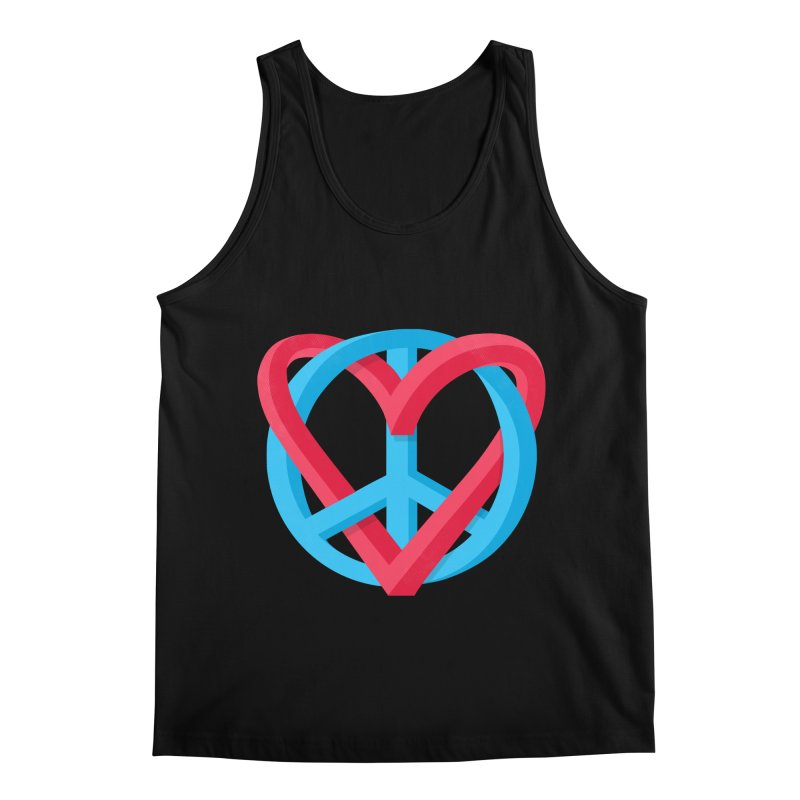 Peace + Love Men's Regular Tank by Corsac's Artist Shop