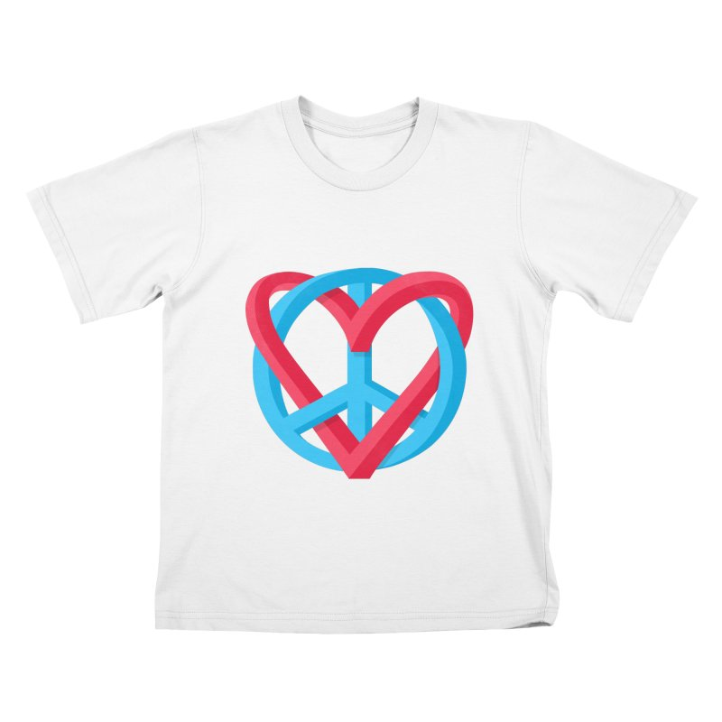 Peace + Love in Kids T-Shirt White by Corsac's Artist Shop