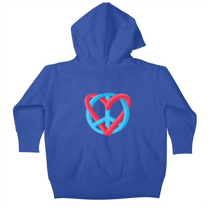 Peace + Love Kids Baby Zip-Up Hoody by Corsac's Artist Shop