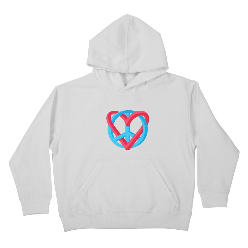 Peace + Love Kids Pullover Hoody by Corsac's Artist Shop