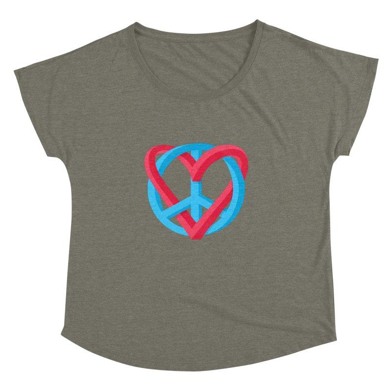 Peace + Love Women's Dolman Scoop Neck by Corsac's Artist Shop