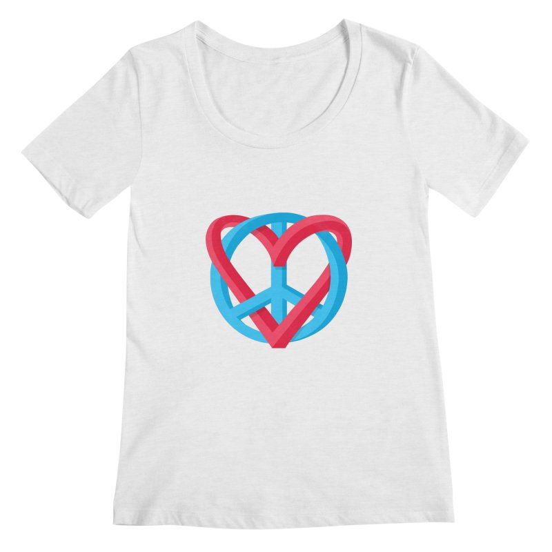 Peace + Love Women's Regular Scoop Neck by Corsac's Artist Shop