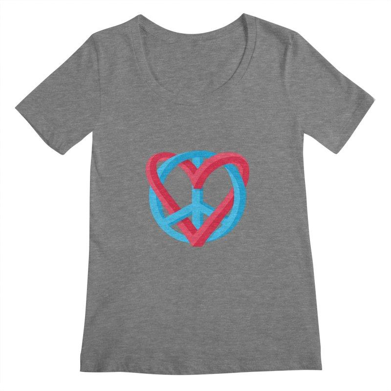 Peace + Love Women's Scoopneck by Corsac's Artist Shop