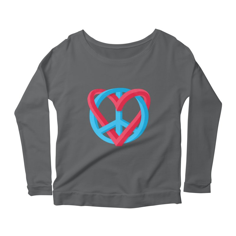Peace + Love Women's Scoop Neck Longsleeve T-Shirt by Corsac's Artist Shop