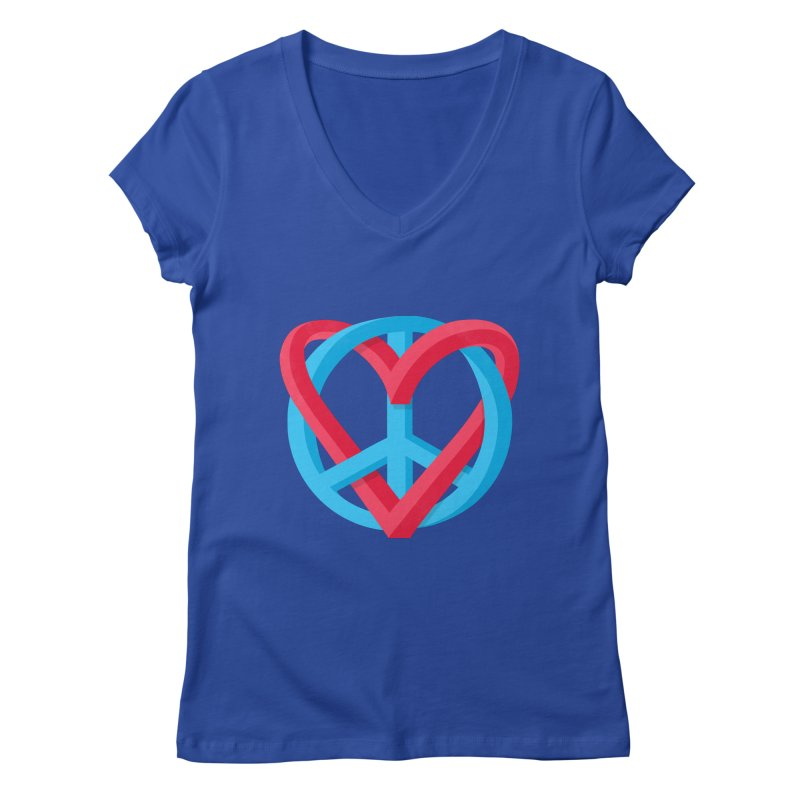 Peace + Love Women's V-Neck by Corsac's Artist Shop