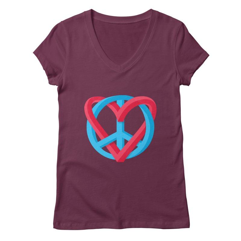 Peace + Love Women's V-Neck by Corsac's Artist Shop