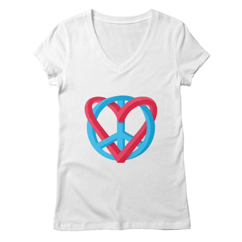 Peace + Love Women's Regular V-Neck by Corsac's Artist Shop
