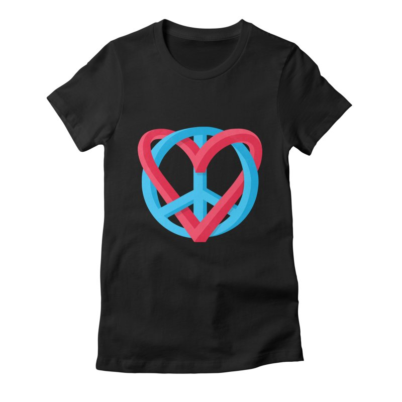 Peace + Love Women's Fitted T-Shirt by Corsac's Artist Shop