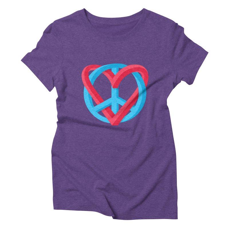 Peace + Love Women's Triblend T-Shirt by Corsac's Artist Shop