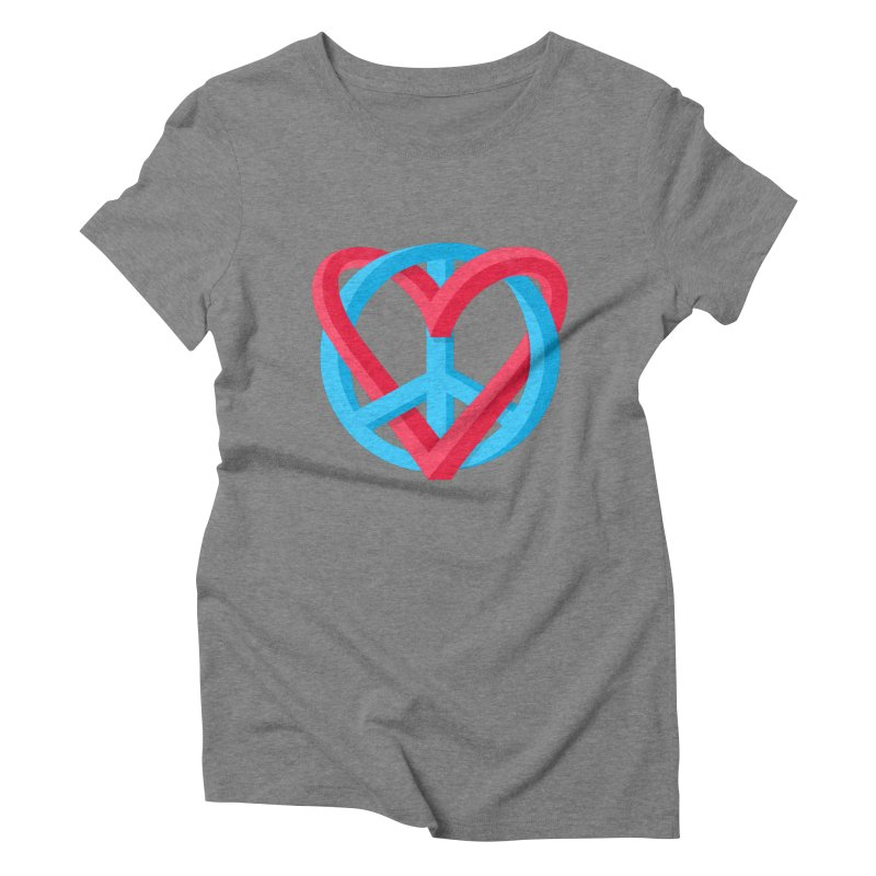 Peace + Love Women's Triblend T-Shirt by Corsac's Artist Shop