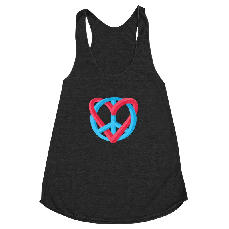 Peace + Love Women's Racerback Triblend Tank by Corsac's Artist Shop
