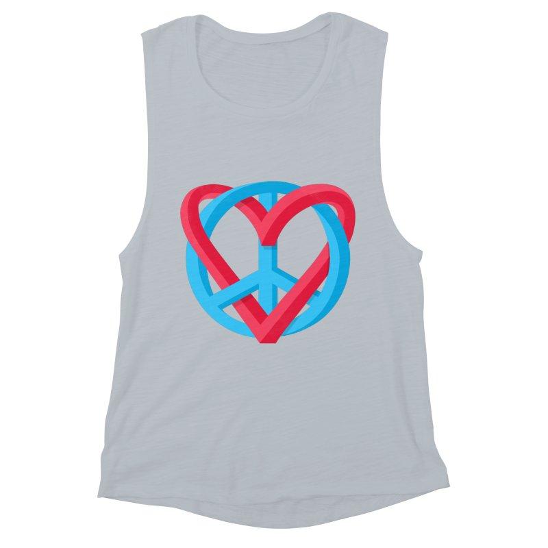 Peace + Love Women's Muscle Tank by Corsac's Artist Shop