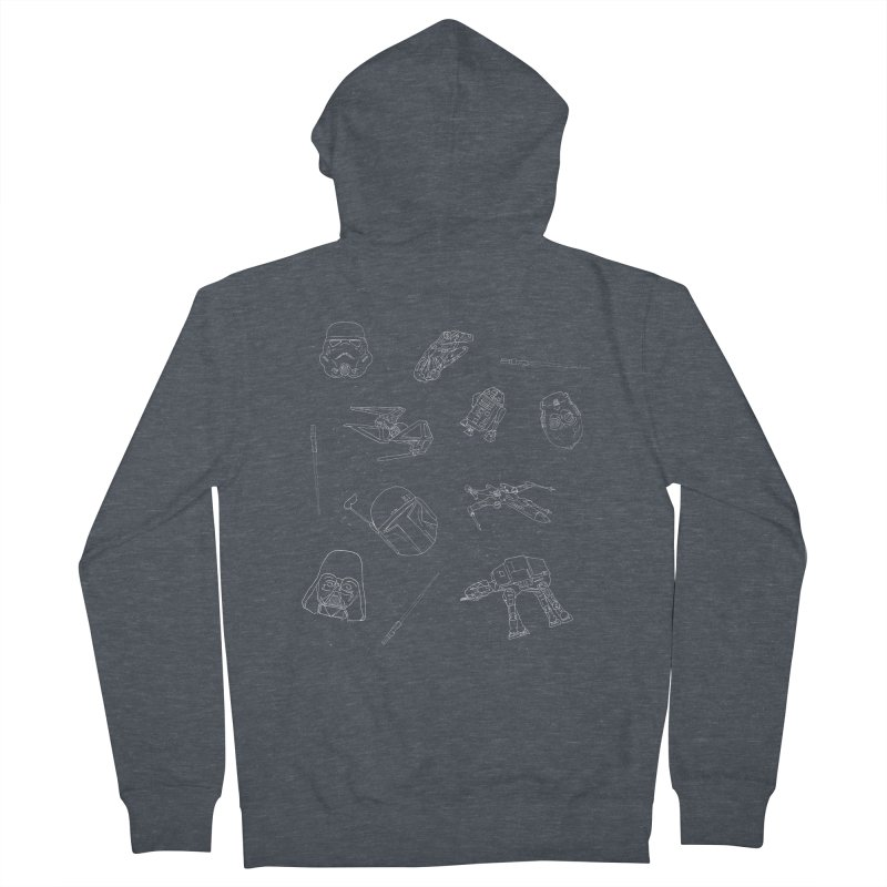 Star Doodles Men's French Terry Zip-Up Hoody by Corsac's Artist Shop