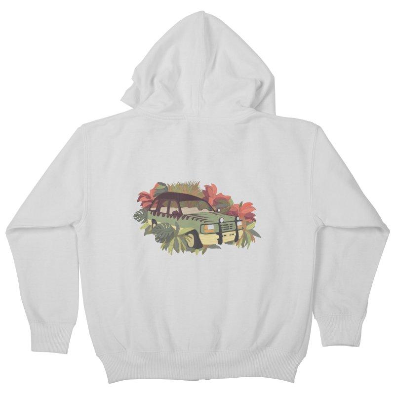 Jurassic Car Kids Zip-Up Hoody by Corsac's Artist Shop