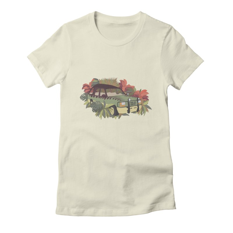 Jurassic Car Women's Fitted T-Shirt by Corsac's Artist Shop