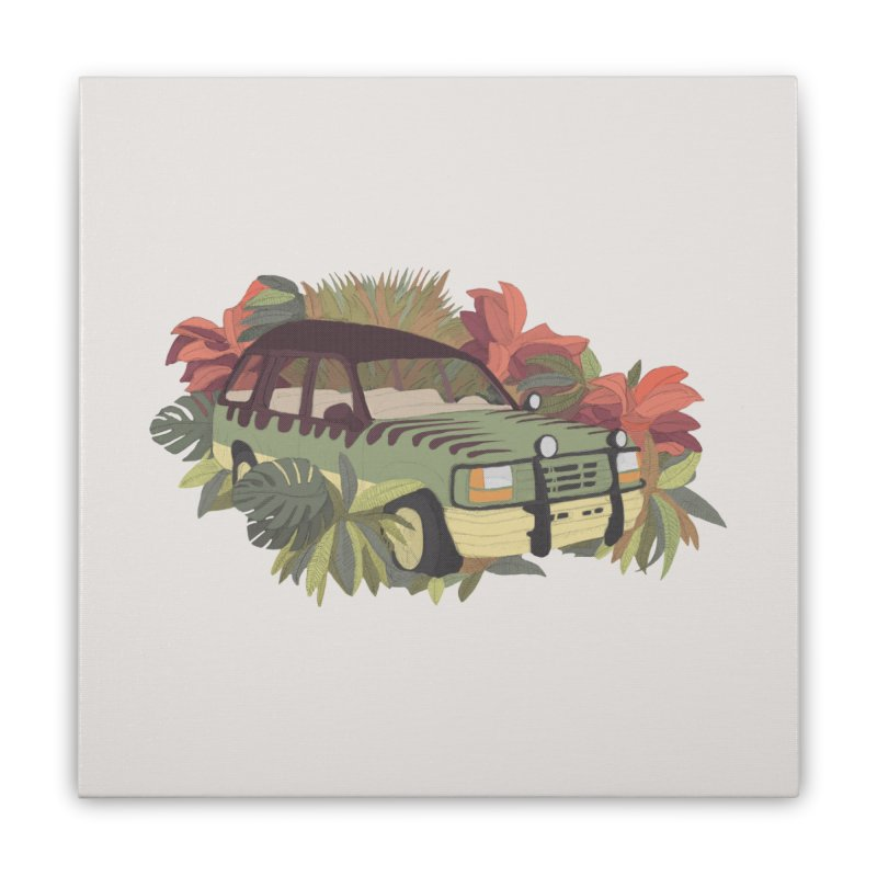 Jurassic Car Home Stretched Canvas by Corsac's Artist Shop