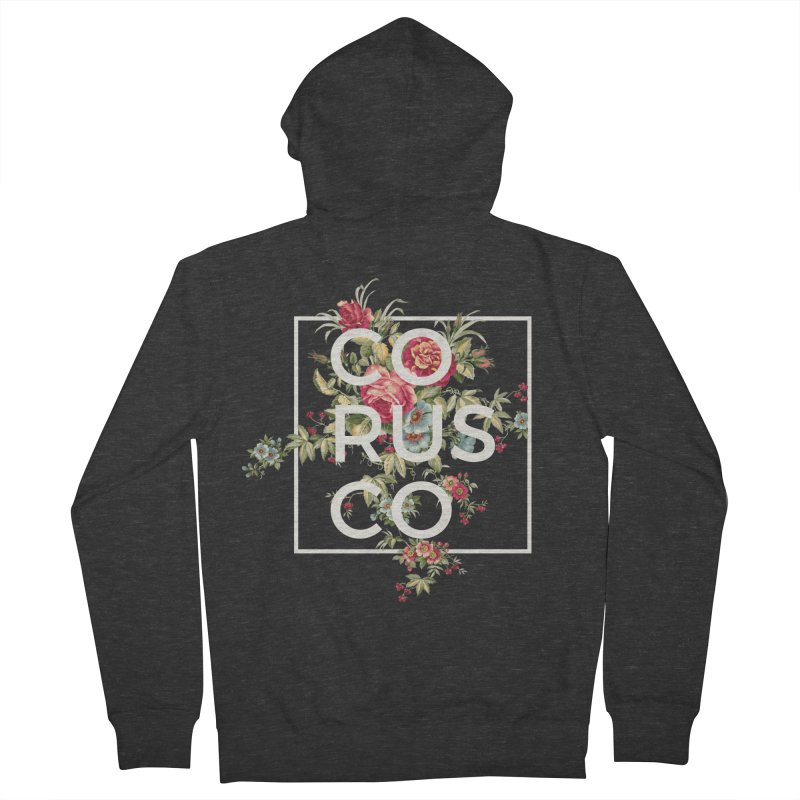 Flowers (White) Men's French Terry Zip-Up Hoody by Corusco Merch