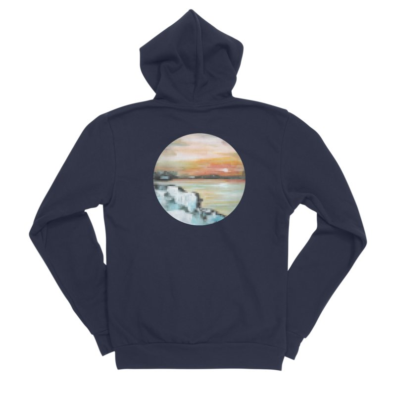 Ice Pixel Planet Men's Sponge Fleece Zip-Up Hoody by Cory & Mike's Artist Shop