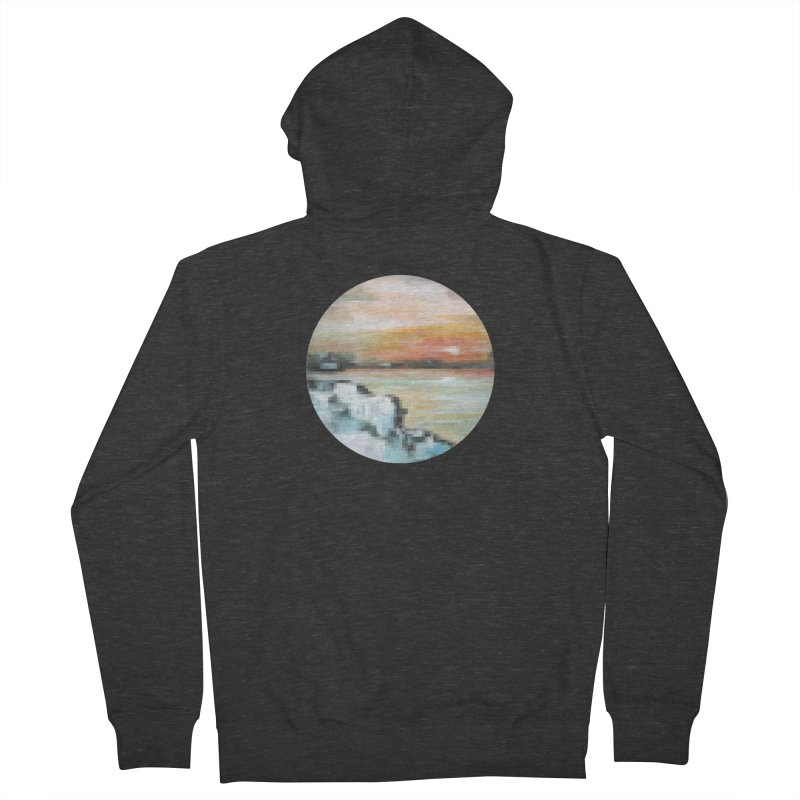 Ice Pixel Planet Women's French Terry Zip-Up Hoody by Cory & Mike's Artist Shop