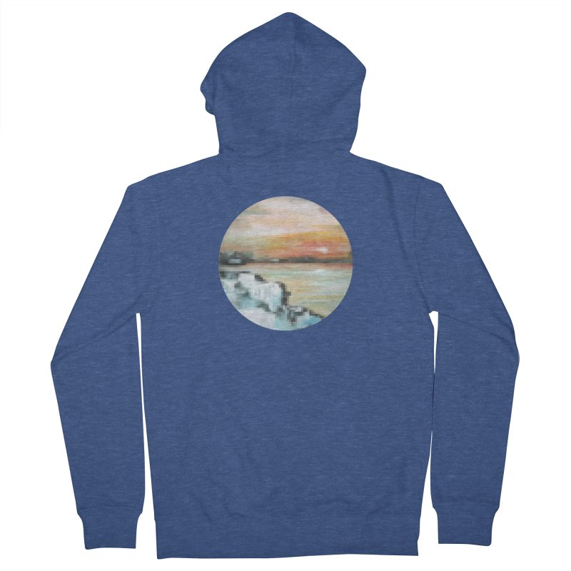 Ice Pixel Planet Men's French Terry Zip-Up Hoody by Cory & Mike's Artist Shop