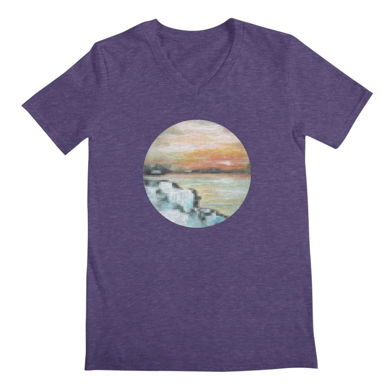 Ice Pixel Planet Men's Regular V-Neck by Cory & Mike's Artist Shop