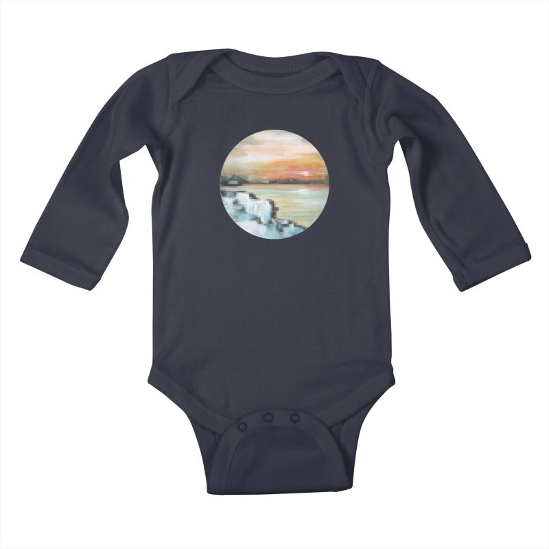 Ice Pixel Planet Kids Baby Longsleeve Bodysuit by Cory & Mike's Artist Shop