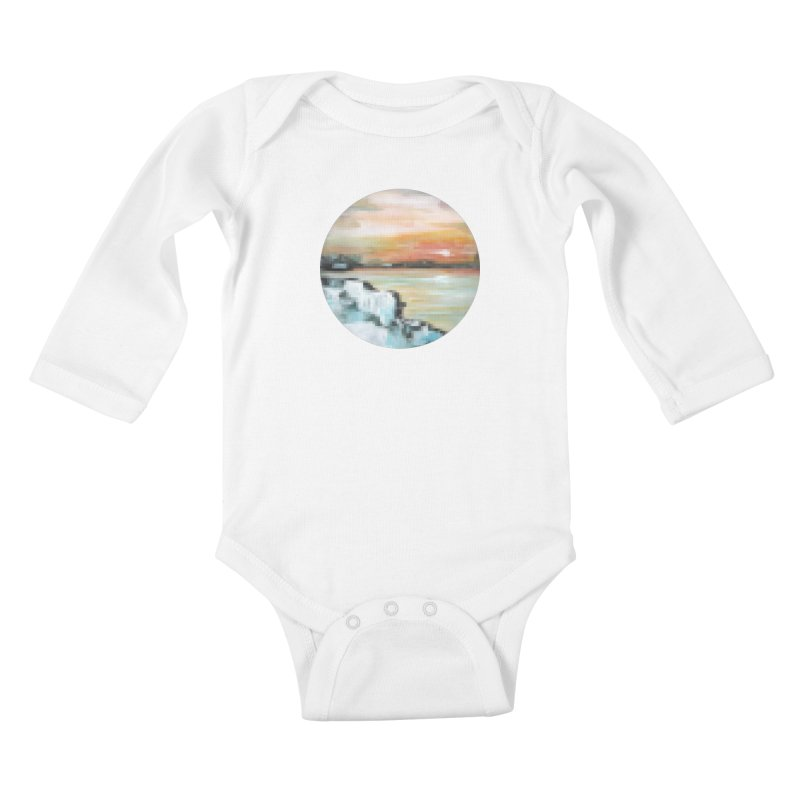 Ice Pixel Planet Kids Baby Longsleeve Bodysuit by Cory & Mike's Artist Shop