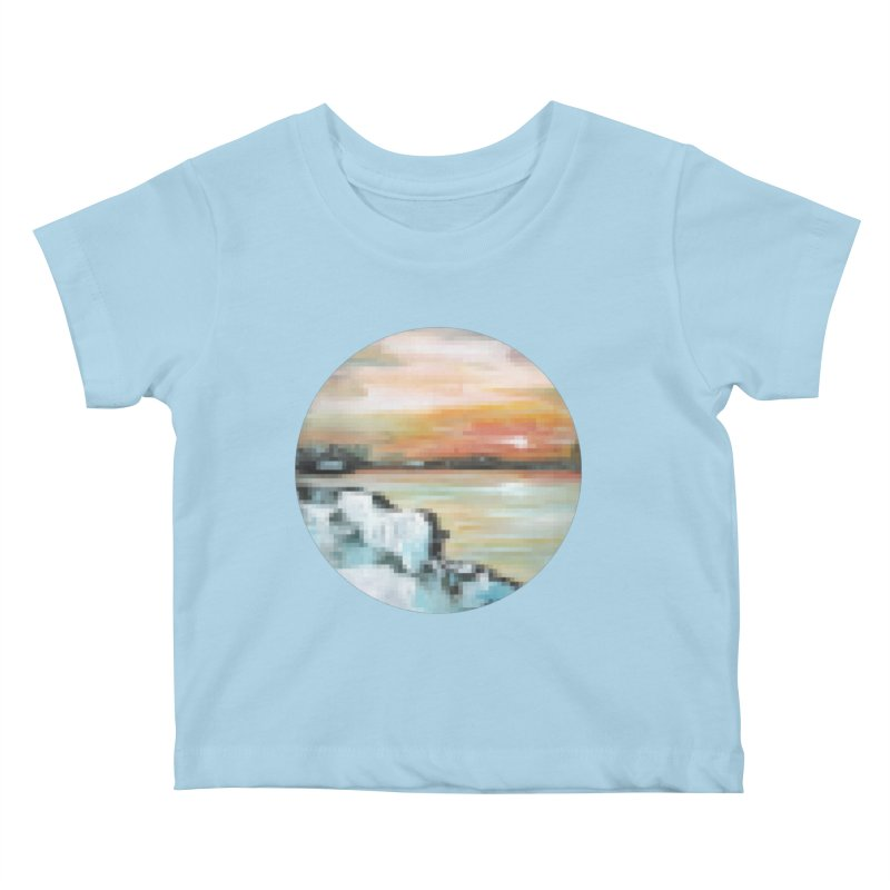 Ice Pixel Planet Kids Baby T-Shirt by Cory & Mike's Artist Shop