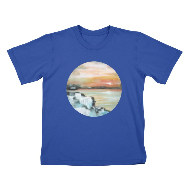 Ice Pixel Planet Kids T-Shirt by Cory & Mike's Artist Shop