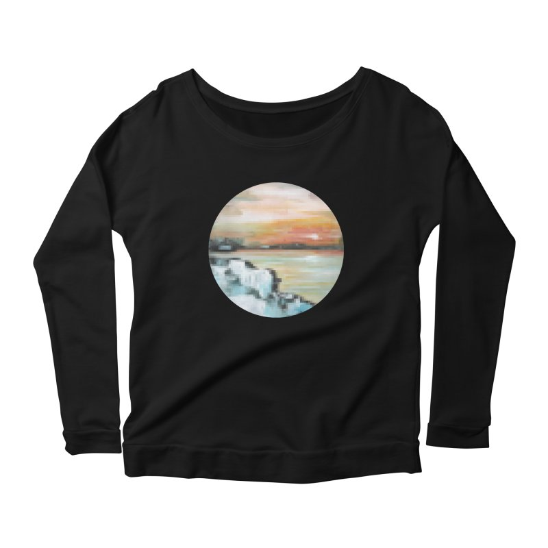 Ice Pixel Planet Women's Scoop Neck Longsleeve T-Shirt by Cory & Mike's Artist Shop