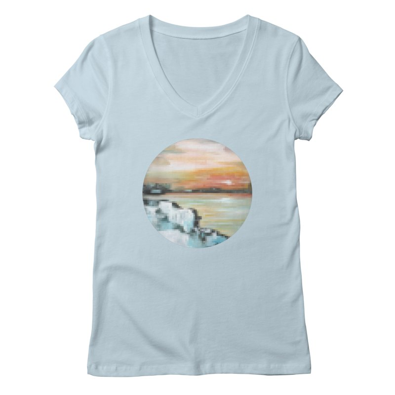 Ice Pixel Planet Women's V-Neck by Cory & Mike's Artist Shop