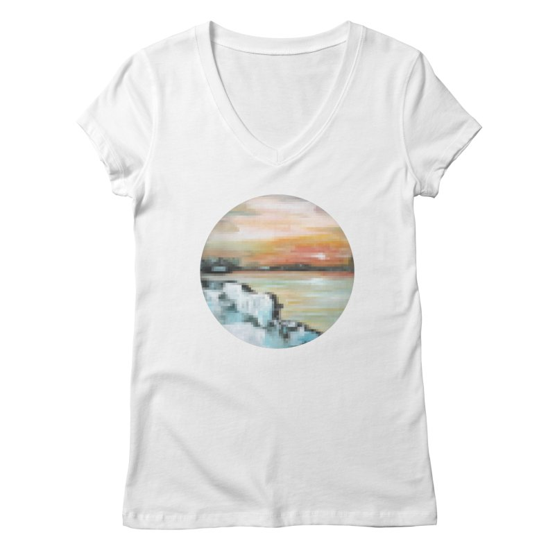 Ice Pixel Planet Women's Regular V-Neck by Cory & Mike's Artist Shop