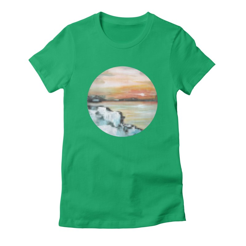 Ice Pixel Planet Women's Fitted T-Shirt by Cory & Mike's Artist Shop