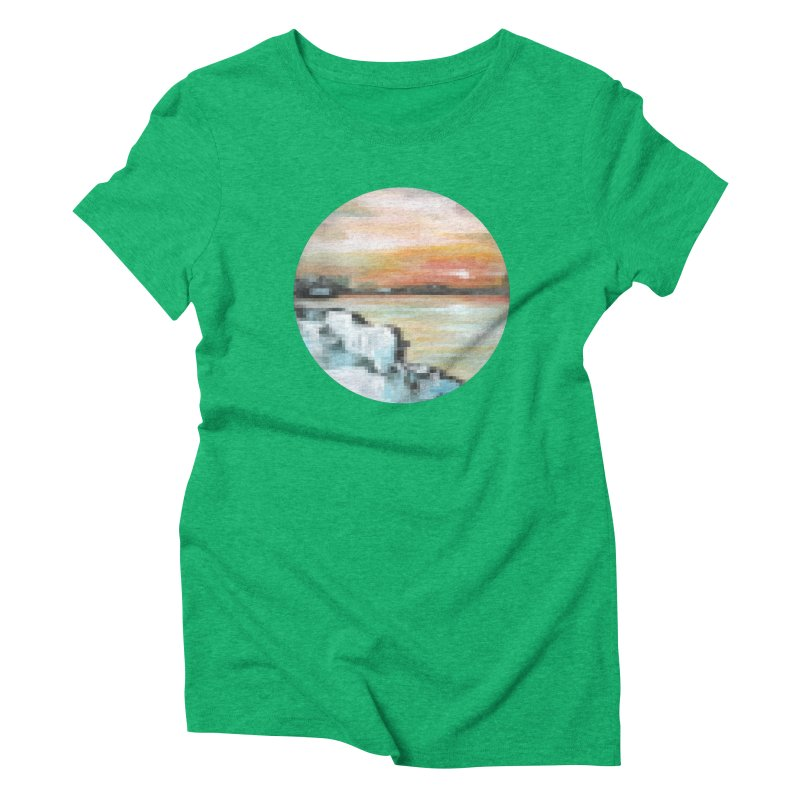 Ice Pixel Planet Women's Triblend T-Shirt by Cory & Mike's Artist Shop