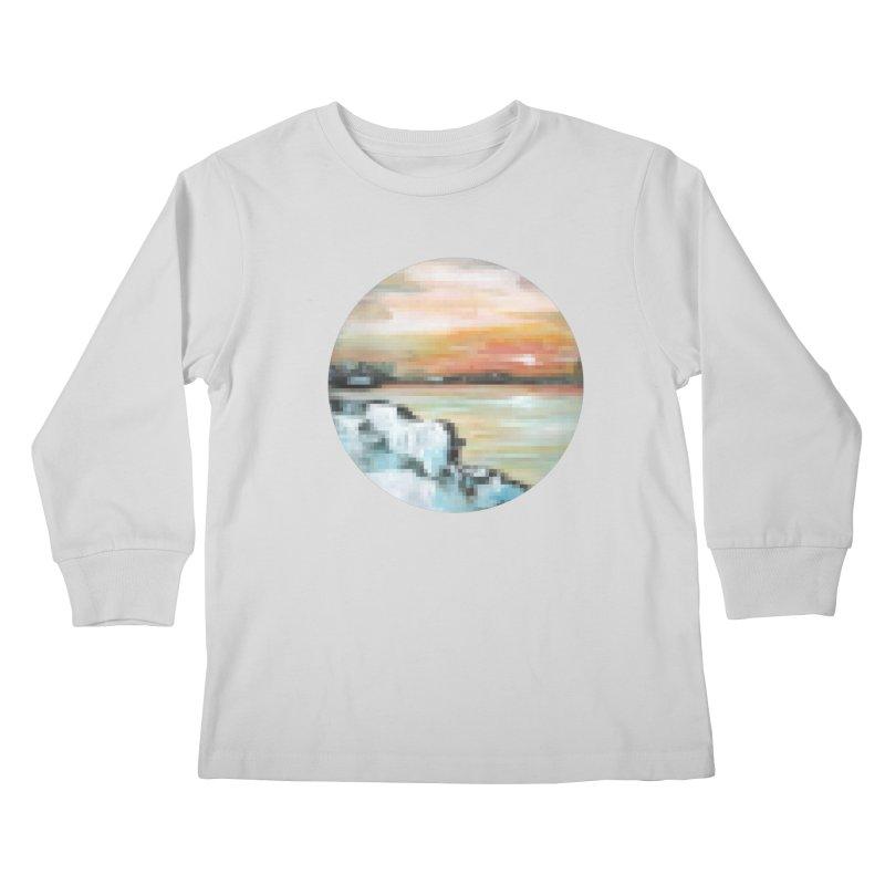 Ice Pixel Planet Kids Longsleeve T-Shirt by Cory & Mike's Artist Shop