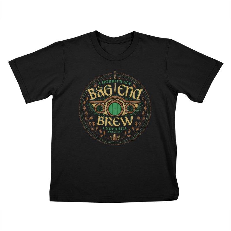 Bag End Brew Kids T-shirt by CoryFreemanDesign