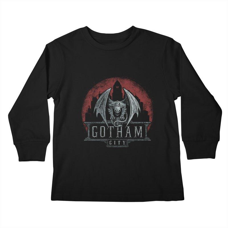 Gargoyle of Gotham Kids Longsleeve T-Shirt by CoryFreemanDesign