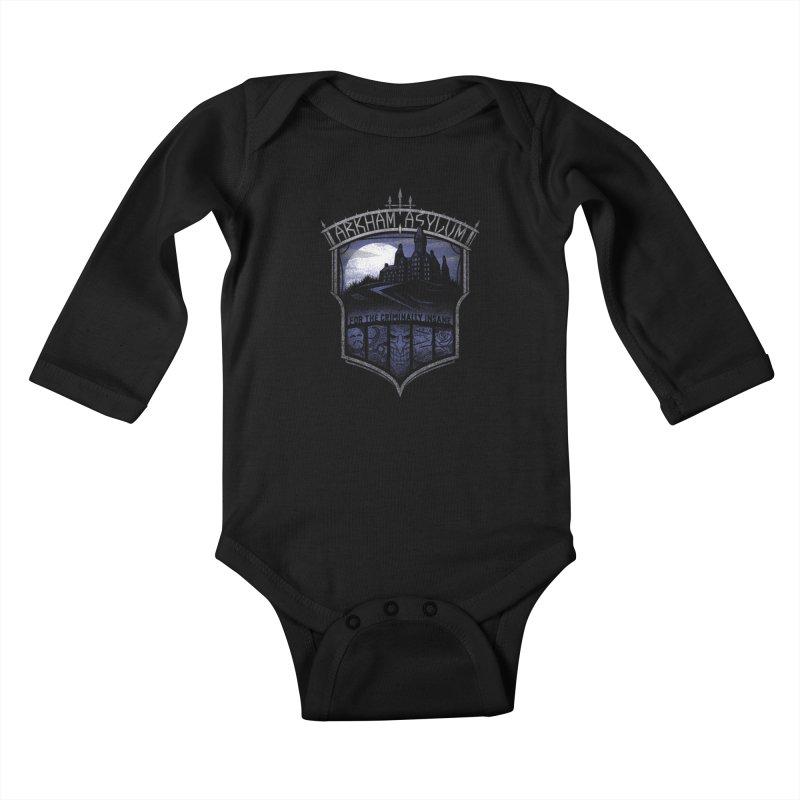 Arkham Asylum Kids Baby Longsleeve Bodysuit by CoryFreemanDesign