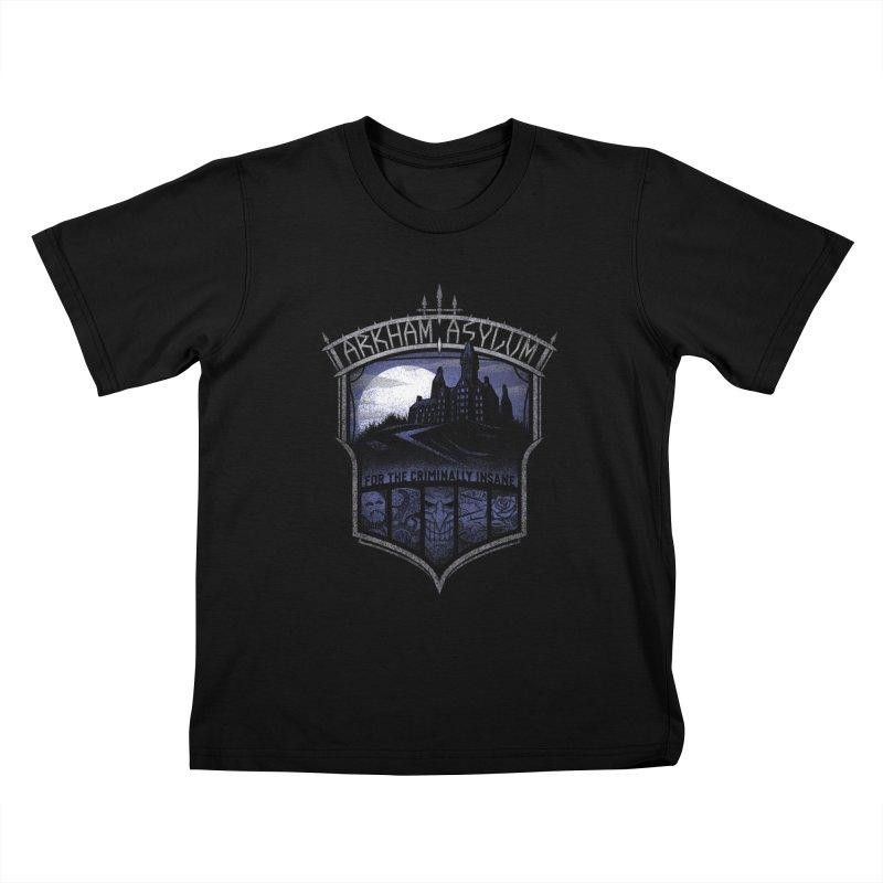 Arkham Asylum Kids T-Shirt by CoryFreemanDesign