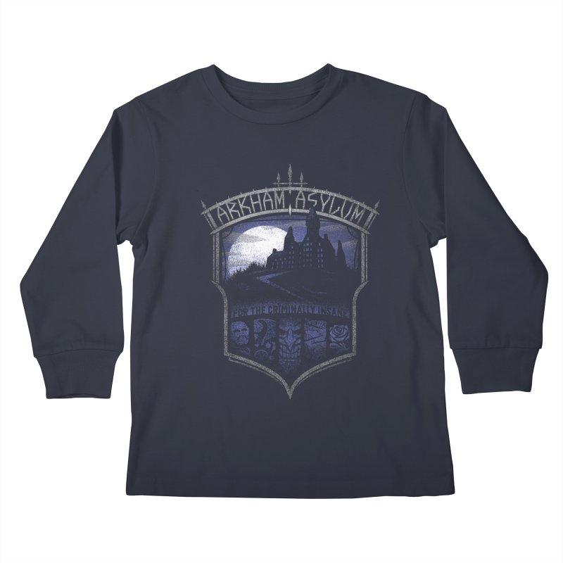 Arkham Asylum Kids Longsleeve T-Shirt by CoryFreemanDesign