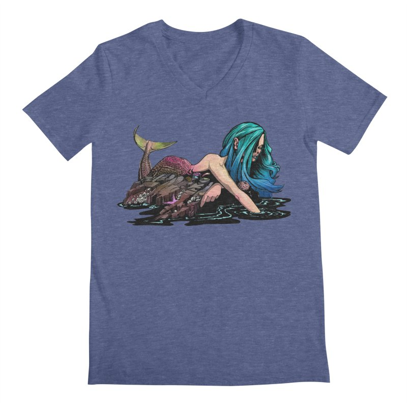 Mermaid on the Rocks Men's V-Neck by Cory Kerr's Artist Shop (see more at corykerr.com)