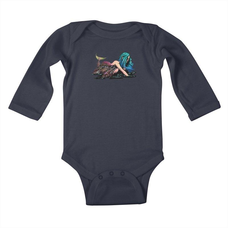 Mermaid on the Rocks Kids Baby Longsleeve Bodysuit by Cory Kerr's Artist Shop (see more at corykerr.com)