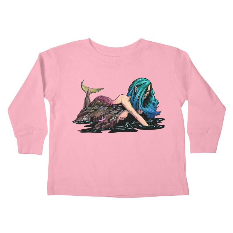 Mermaid on the Rocks Kids Toddler Longsleeve T-Shirt by Cory Kerr's Artist Shop (see more at corykerr.com)