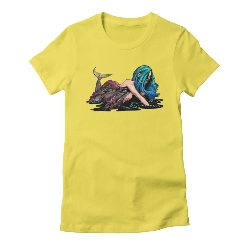 Mermaid on the Rocks Women's Fitted T-Shirt by Cory Kerr's Artist Shop (see more at corykerr.com)